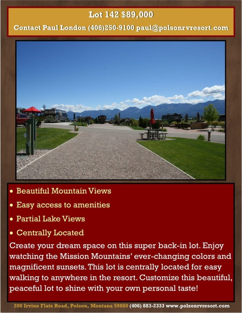 Create your dream space on this super back-in lot. Enjoy watching the Mission Mountains' ever-changing colors and magnificent sunsets. This lot is centrally located for easy walking to anywhere in the resort. Customize this beautiful, peaceful lot to shine with your own personal taste!